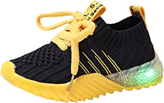 Sunward 1-6 Years Kids Shoes,Girls Boys LED Slip on Sneakers Light Up Flashing Sneakers Soft Knit Comfortable Walking Shoes