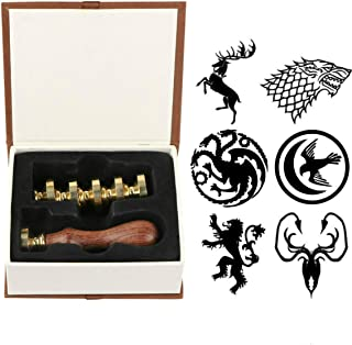 House Baratheon Wax Seal Stamp Set, VIHOME 6 Pieces A Song of Ice and Fire Seal Wax Stamps Copper Seals + 1 Piece Wooden Hilt, House Lannister Targaryen Stark Arryn Seal Wax Stamp Kit (Ice Fire Song)