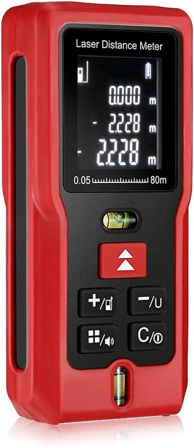 Telémetro Láser 80m IP54 InLife Medidor de Distancia Profesional LCD Retroiluminada 2 mm de Precisión Portátil con 2 Niveles de Burbuja con Medición de Distancia Área Volumen Cálculo Pitagórico