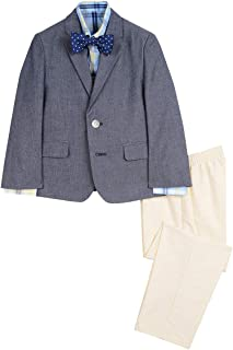 Boys' 4-Piece Suit Set with Dress Shirt, Bow Tie, Jacket, and Pants