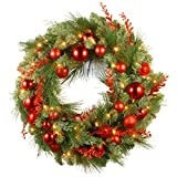 National Tree Company lit Artificial Christmas Wreath Collection Flocked Decorations and Pre-Strung White LED Lights, 30-Inch, Red Mixed