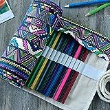 Estuche para lápices Sostiene la bola para envolver lápices Estuche para lápices de 36 agujeros Estuche para lápices de lona Bolsa enrollable Cortina Papelería Bolsa de papelería simple portátil