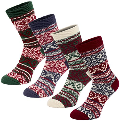 Brubaker 4 Paar Damen Norweger Socken Multicolor Pack Gr. 35-38