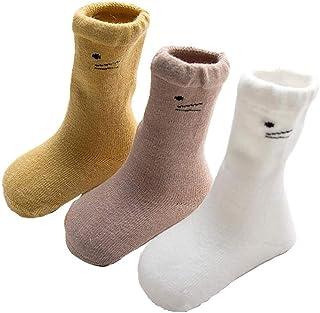 Da.Wa, Da.Wa 3 Pares Gato Macho Calcetines Gruesos para Bebés Calcetines Largos de Algodón Suela Antideslizantes para Niños Recién Nacidos Invierno Cálidos Suaves y Cómodos (M 1-3 años)
