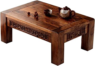 Chinese Antique Carved Kang Table Solid Wood Bay Window Table Japanese-Style Tatami Coffee Table Low Table with Sun Terrace Strong and Firm (Color : Walnut, Size : 70 * 45 * 30cm)