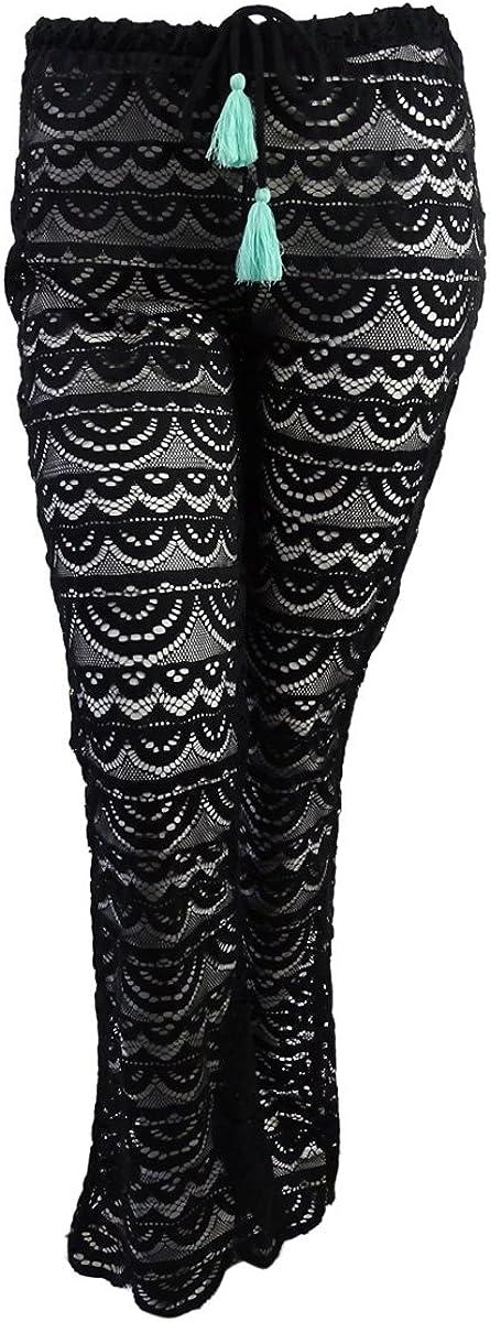 Miken Womens Scalloped Crochet Pants Swim Cover-Up