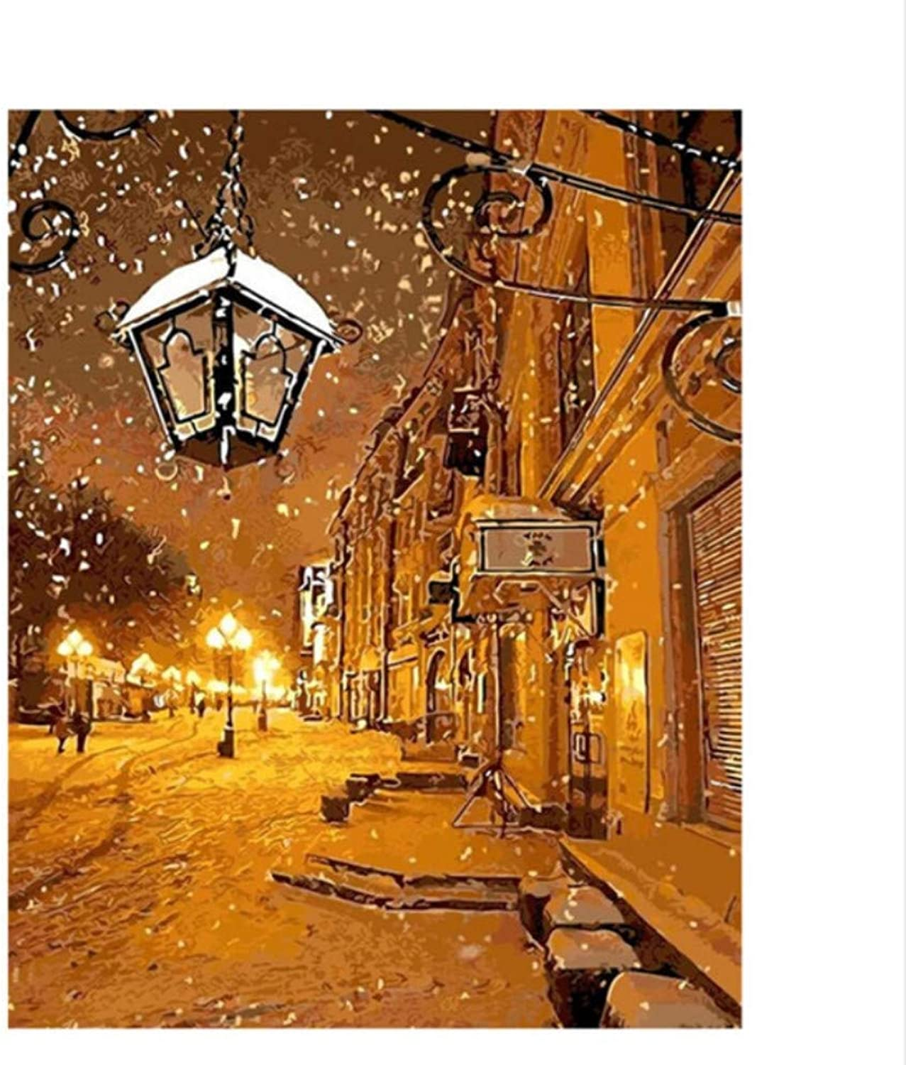 CAYYOU DIY Digital Painting By Numbers Street Lights At Night Oil Painting Mural Kits coloring Wall Art Picture Gift  Framed  50x60cm
