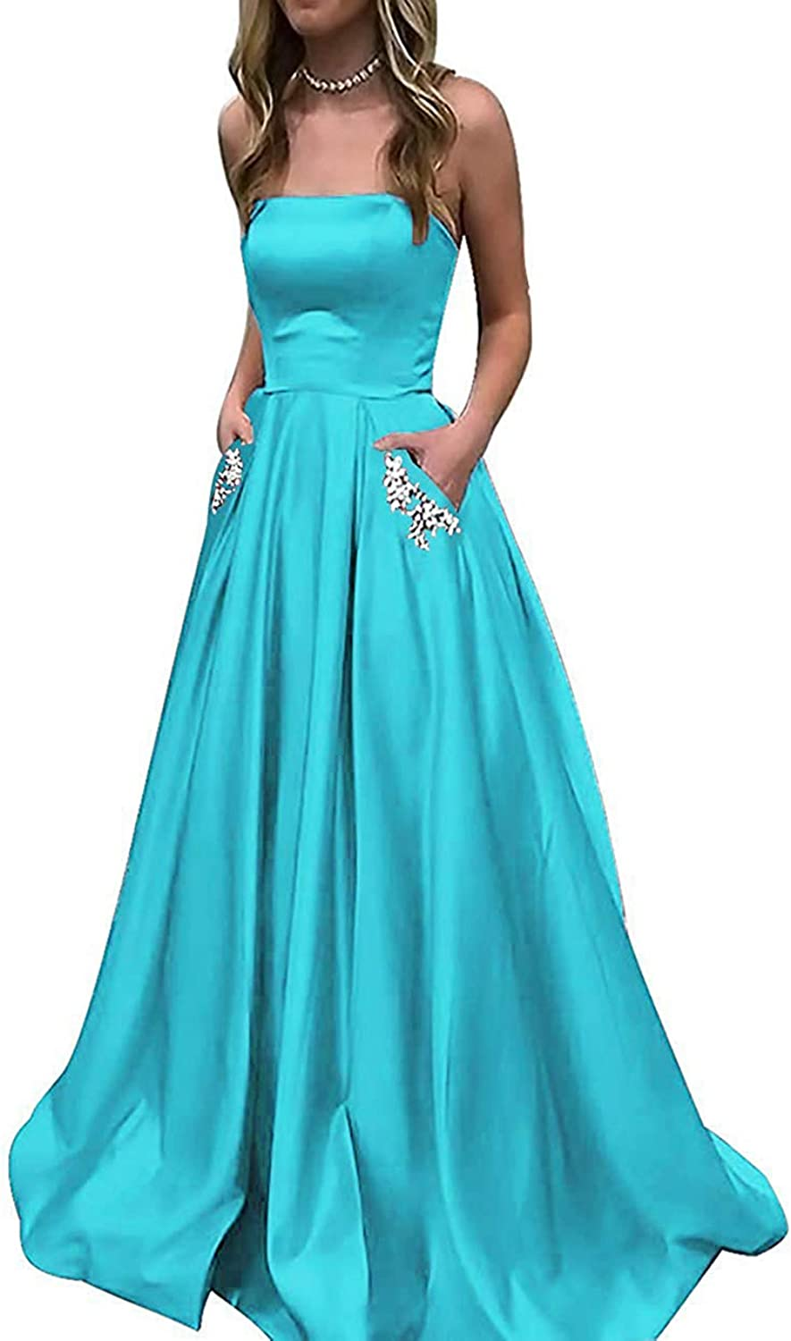PrettyTatum Women's A Line Satin Prom Dresses Long Evening Ball Gowns with Beaded Pockets