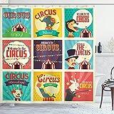 Yaoni Zirkus-Duschvorhang, Zusammensetzung der Alten Zirkus-Karnevalsmagier Altmodischer Nostalgiker, Stoff-Stoff-Badezimmer-Dekor-Set mit Haken, grün-gelb