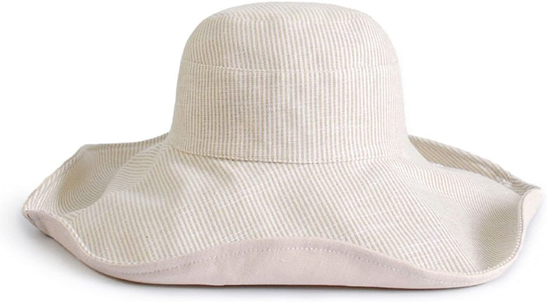 LBY Female Summer Sunhat Sunscreen Fisherman Hat Seaside Sun Hat Folding Beach Hat Cotton Linen Stripes Sun Hats (color   2 , Size   57  10  14cm)