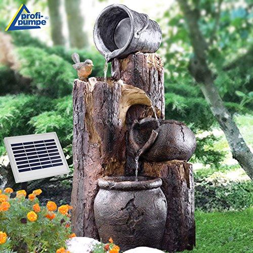 Solar Gartenbrunnen Brunnen BAUMSTUMPF & TONKRÜGE Zierbrunnen Wasserfall Springbrunnen für Terrasse, Balkon, verbessertes Modell mit Pumpen-instant-Start-Funktion mit Li-Ion-Akku & Led-Licht
