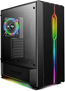 DarkFlash T20 ATX Mid-Tower Desktop Computer Gaming Case USB 3.0 Ports Tempered Glass Windows with 1pcs 120mm LED Rainbow ...
