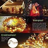 LE 12M LED Lichterkette Draht aus Kupferdraht, 100 LEDs, Wasserdicht IP65, Strombetrieben, ideal Stimmungslichter für Weihnachtsdeko Innen Außen Weihnachten Party Hochzeit usw. Warmweiß - 8
