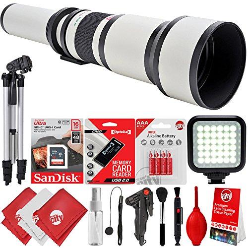 Opteka 650-1300mm f/8-16 High Definition Super Telephoto Zoom Lens for Canon EOS 80D, 77D, 70D, 60D, 7D, 6D, 5D, 7D Mark II, T7i, T6s, T6i, T6, T5i, T5, SL1 & SL2 Digital SLR Cameras -  Circuit City, circuitcity113938