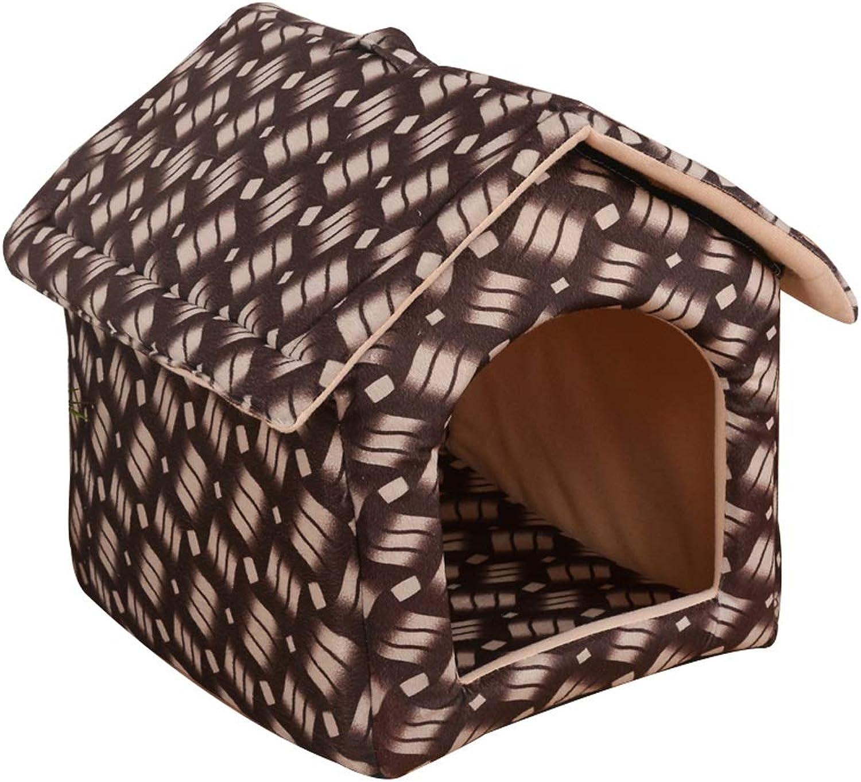 Pet house Fashion Leopard Style Portable Foldable Pet House Cat Dog Room Bed 3 colors 3 Size (color   B, Size   S)