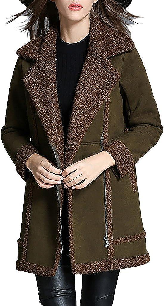 ZANLICE Women's Lapel V Neck Faux Suede Lambs Wool Jacket Coat S-XL