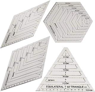 ZHANGLI 4Pcs Transparent Quilting Ruler Set, Professional Sewing Tool DIY Diamond Shape Patchwork Sewing Cutting Craft Rul...