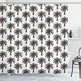 ABAKUHAUS Palme Duschvorhang, Retro-Wachstum üppig, mit 12 Ringe Set Wasserdicht Stielvoll Modern Farbfest & Schimmel Resistent, 175x200 cm, Dunkelbraun Weiß