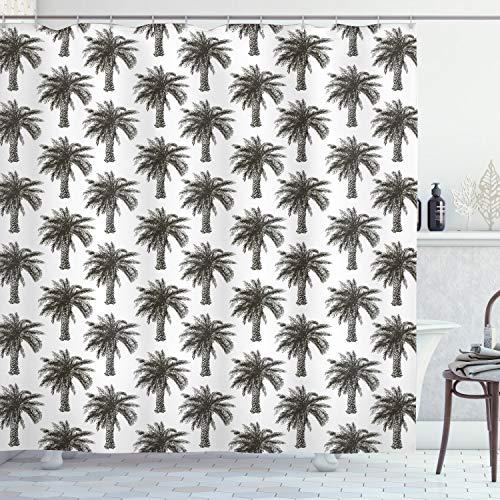ABAKUHAUS Palmboom Douchegordijn, Retro Groei Nature, stoffen badkamerdecoratieset met haakjes, 175 x 200 cm, Dark Brown White