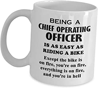 Chief Operating Officer Mug Gifts - Riding A Bike On Fire - Ceramic Coffee Tea Cup For COO Director Of Operations Office Appreciation Funny Cute Gag Novelty Gift Idea