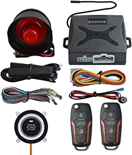$48 » BANVIE PKE Passive Keyless Entry Car Alarm System Push Start Button Remote Engine Start (with Siren)