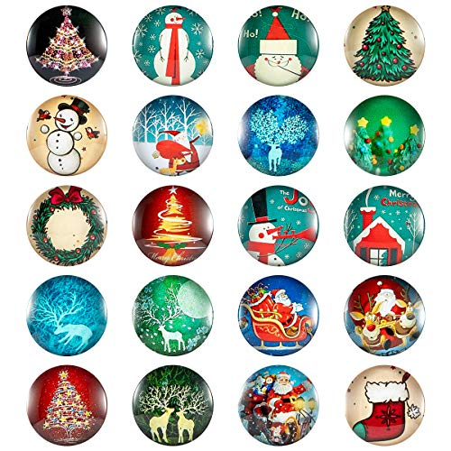 MADHOLLY 20 Pack Christmas Refrigerator Magnets- Christmas Pattern 3D Decorative Glass Fridge Magnets Small Magnets for Map Refrigerator Cabinet Whiteboard (1 inch)