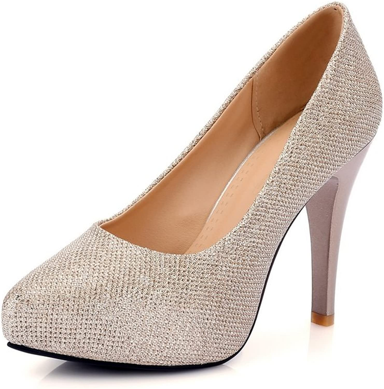 1TO9 Ladies Low-Cut Uppers Pull-On gold Imitated Suede Pumps-shoes - 7 B(M) US