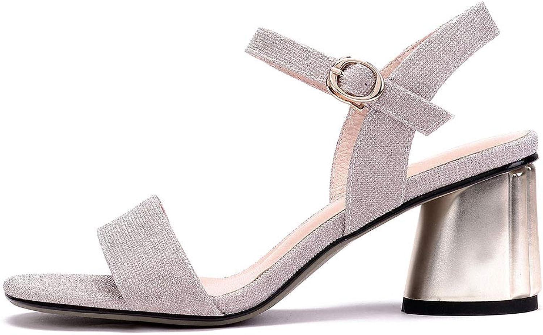 Verocara Women's Mid Chunky Flower Heel Glitter Manmade Leather Adjustable Slingback Sandal shoes