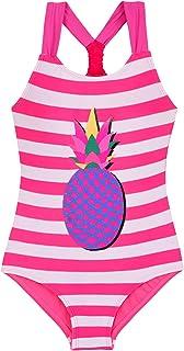 MILLUM Girls Racerback Swimsuits Pink Monokini Bathing Suit Size 6 One Piece,S,Pineapple Pink Striped