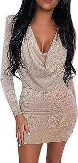 SWAGSTS Vestido sexy para mujer, cuello en V, manga larga, brillante, minivestido, fiesta, cóctel, elegante vestido de noche