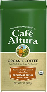 Cafe Altura Whole Bean Organic Coffee, Breakfast Blend, 2 Pound, 32 Ounce