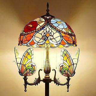Vintage Tiffany Salon Lampadaire Avec interrupteur Ø40cm Baroque Abat-jour en Verre Teinté à la Main Rétro Chambre Lampe D...