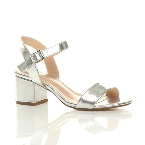 8d98e43a558 Womens Ladies mid Low Block Heel peep Toe Ankle Strap Strappy Party Sandals  Size