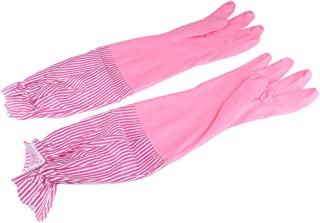 D DOLITY Kitchen Rubber Cleaning Gloves, Warm Lining Household Thickening Waterproof Dishwashing Latex Glove Long Cuff