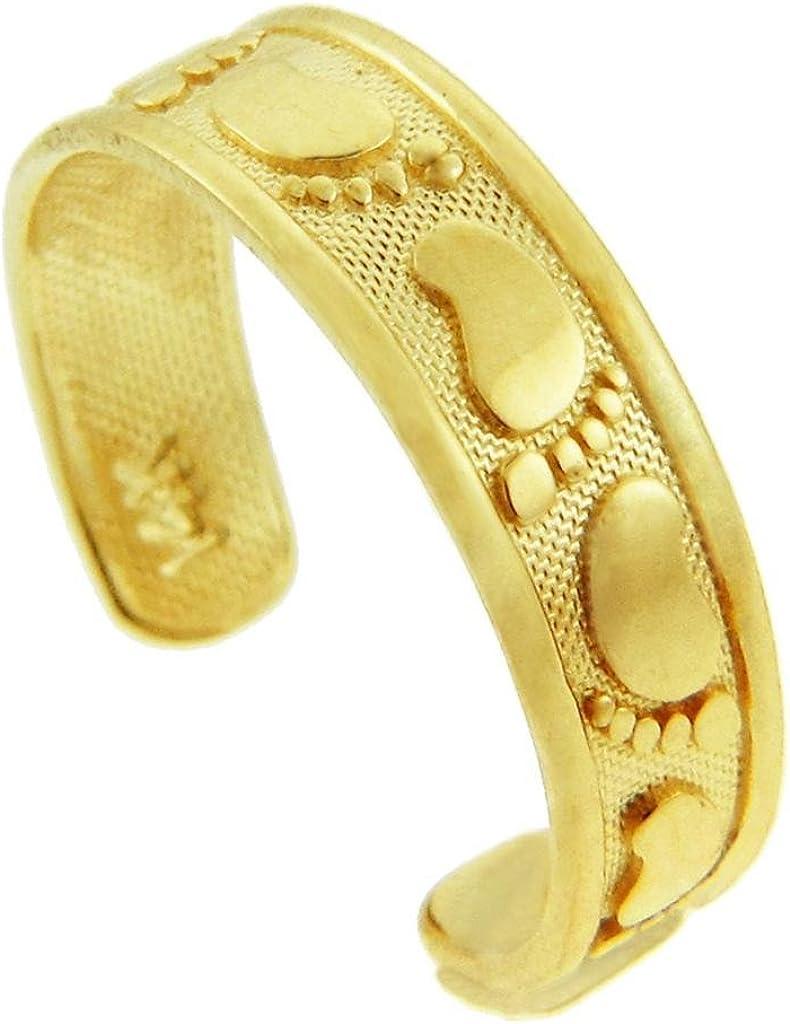 Classy Footprint Yellow Gold Toe Ring