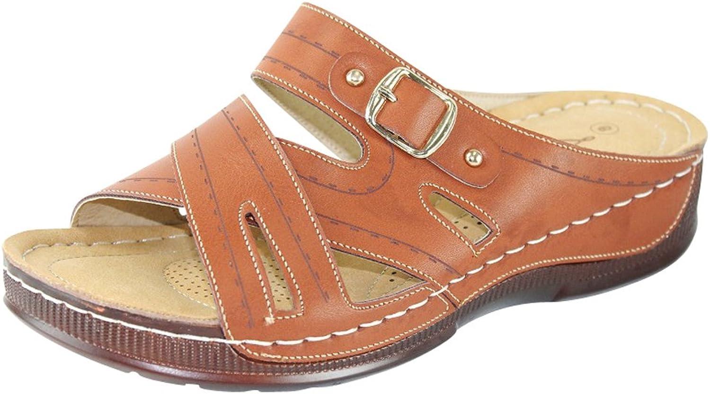 Cambridge Select Women's Crisscross Strap Comfort Padded Slip-On Low Wedge Sandal