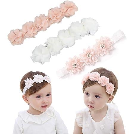 IYOU Bebe's Diadema con Grosgrain bandas de pelo de bebé diademas de flores de cristal Para la Fotografía del Partido (Paquete de 3)