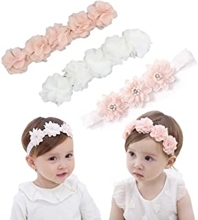 IYOU Bebe's Diadema con Grosgrain bandas de pelo de bebé diademas de flores de cristal Para la Fotografía del Partido (Paq...