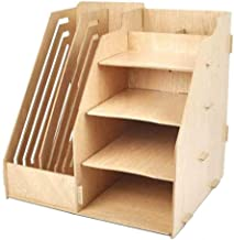Multifunction Desk File Storage Wood Office Desk Organizer with Drawers for Office/School