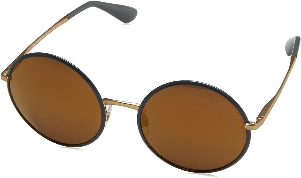 dolce & gabbana, occhiali da sole per donna, montatura in metallo, lenti colore marrone dg2155 c56a