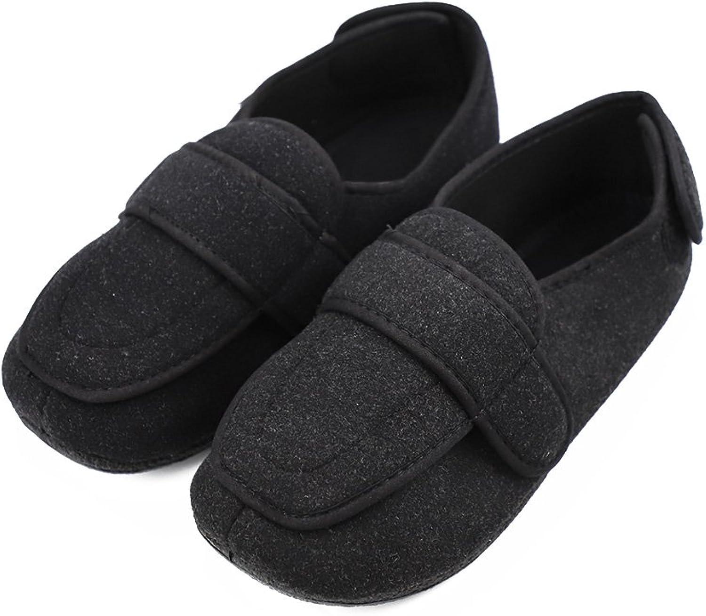 JasmineLi Men's Diabetic Edema Slippers Arthritis Swollen Memory Foam Closed Toed Loafers - Adjustable