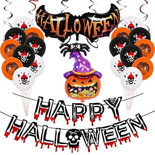 RXLLSY Happy Halloween Banner Pumpkin Ghost Globos Pumpkin Bat Spooky Spiders Set para Halloween Decoración Interior al Aire Libre, Spoof Tricky Halloween Party Decoraciones,C