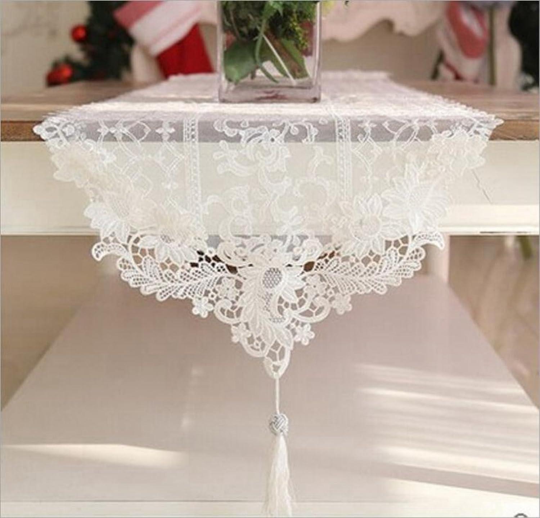 Miaoge Mode Luxus Spitze Tisch Tischläufer Quaste Spitze Tischfahne Anhänger Anhänger Anhänger weiß Couchtisch table flag 21042cm B072HJ1Q88 4a8660