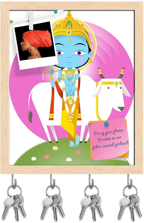 Artzfolio Hindu God Krishna Key Holder Hooks   Notice Pin Board   Natural Brown Frame 16 X 19.5Inch