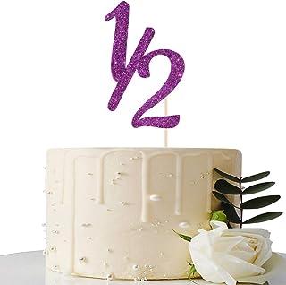 Purple Glitter Half Year Old Cake Topper - Half Year Cake Topper - for Half Year Anniversary/Baby Shower/Baby's Half Year ...