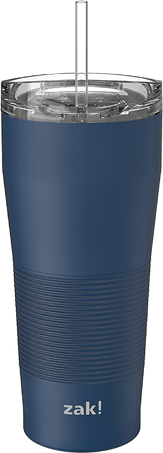Zak Designs Lynden 28 oz Vacuum Insulated 18/8 Stainless Steel Travel Tumbler with Splash-Proof Lid, Includes Reusable Plastic Straw and Fits in Car Cup Holders, Arctic Blue