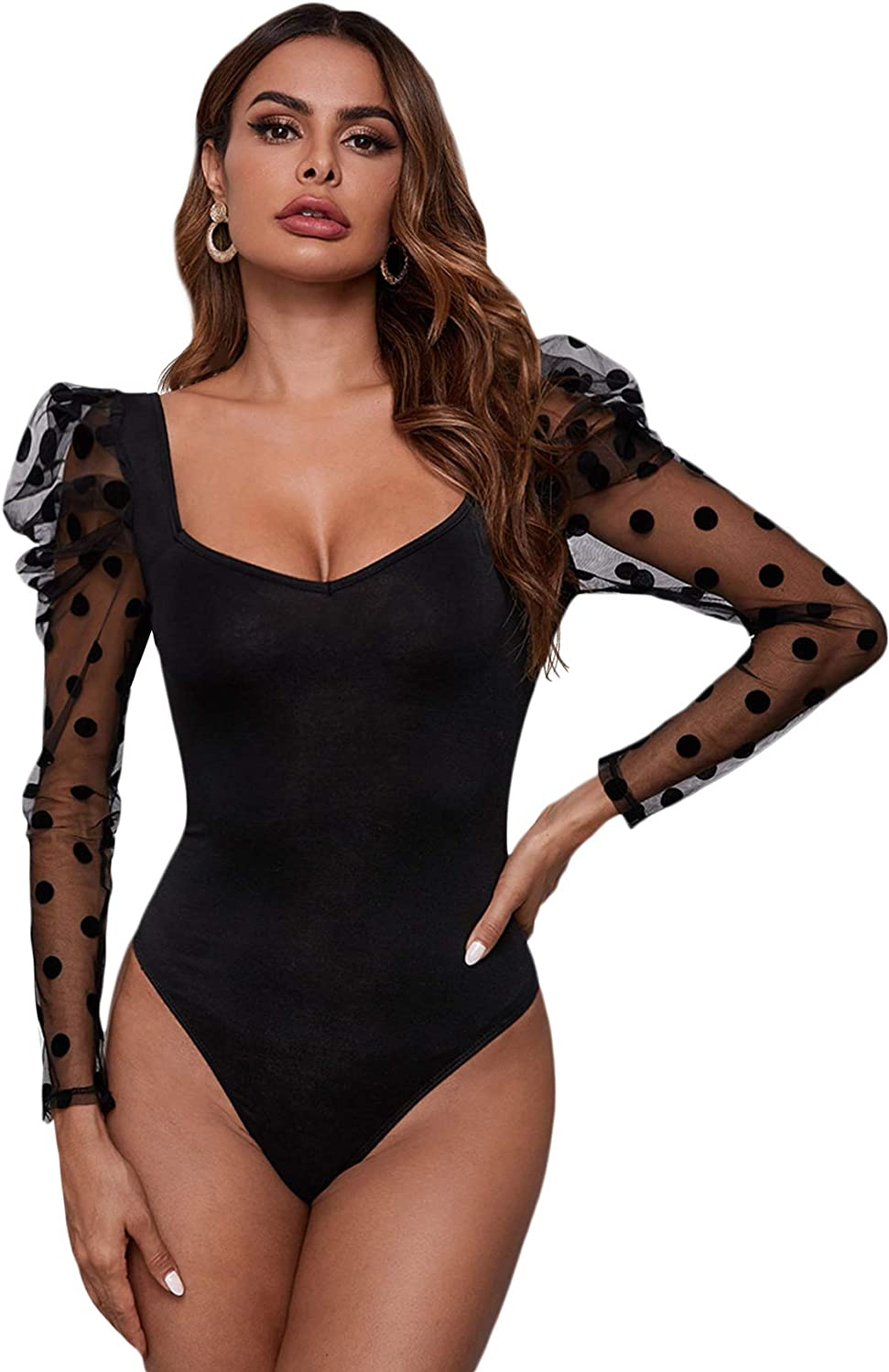 Verdusa Womens Polka Dots Print Sheer Mesh Sleeve Square Neck Bodycon Bodysuit