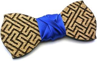 Papillon in legno GIGETTO Labirinto Nodo Raso Blu Made in Italy