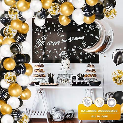specool Globos Oro Negro, Agate Globos Oro con Globo de Confeti Dorado para Mujeres Hombres Cumpleaños Decoración Graduación Fiesta de Halloween