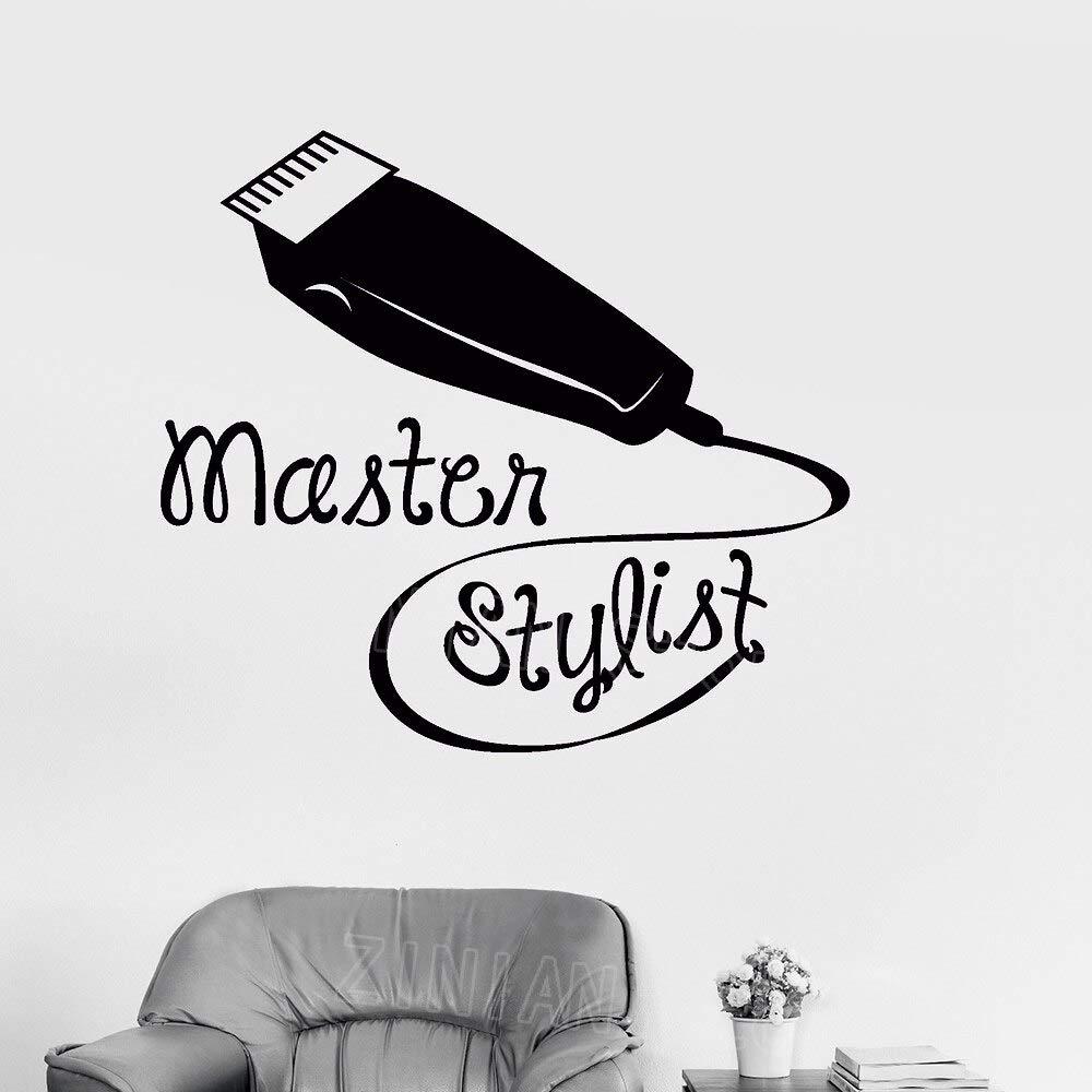 Styliste Maître Vinyle Stickers Muraux Salon De Coiffure Coiffeur Barbershop Mur Fenêtre Decortion Imperméable Tondeuses À Cheveux Stickers 65 * 56cm